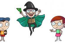 Hlavní postavy hry Matemág -  čaroděj Matemág a děti Jakub a Terka.